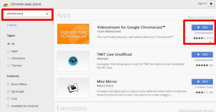 use Videostream app to stream local videos for Chromecast
