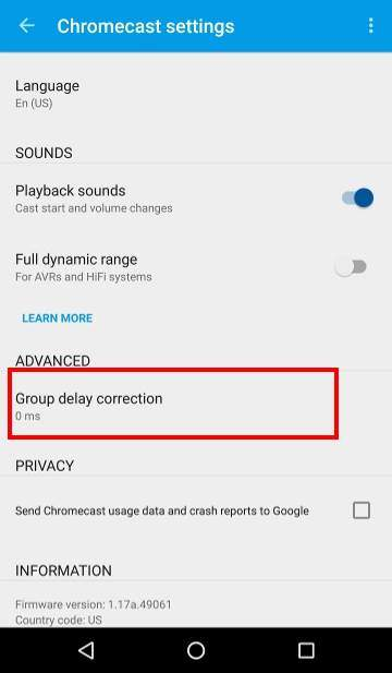 How to use Chromecast Audio multi-room group playback: 11_group_play_delay_correction