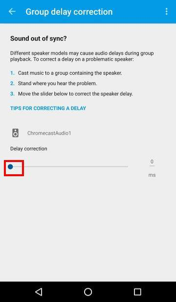 How to use Chromecast Audio multi-room group playback: 12_group_play_delay_correction_each_speaker
